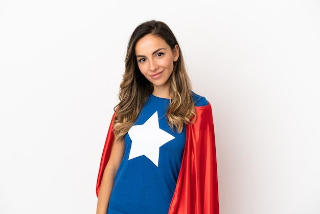 Super hero woman over isolated white background laughing