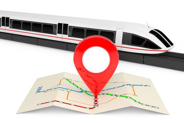 Супер высокоскоростной футуристический пригородный поезд возле сложенной абстрактной карты навигационной станции с указателем карты на белом фоне. 3d рендеринг