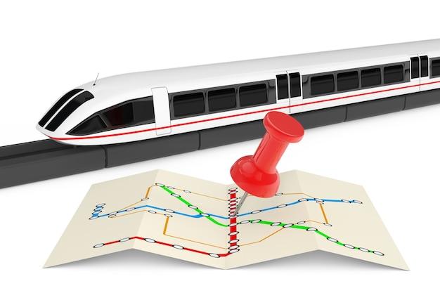 Супер высокоскоростной футуристический пригородный поезд возле сложенной абстрактной карты навигационной станции с булавкой на белом фоне. 3d рендеринг