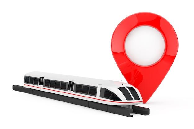 Супер высокоскоростной футуристический пригородный поезд возле указателя булавки на белом фоне. 3d рендеринг