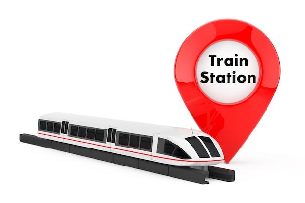 Супер высокоскоростной футуристический пригородный поезд возле указателя цели со знаком железнодорожного вокзала на белом фоне. 3d рендеринг