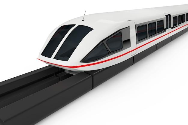 Супер высокоскоростной футуристический пригородный поезд на белом фоне. 3d рендеринг