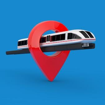 Супер высокоскоростной футуристический пригородный поезд с указателем булавки на синем фоне. 3d рендеринг