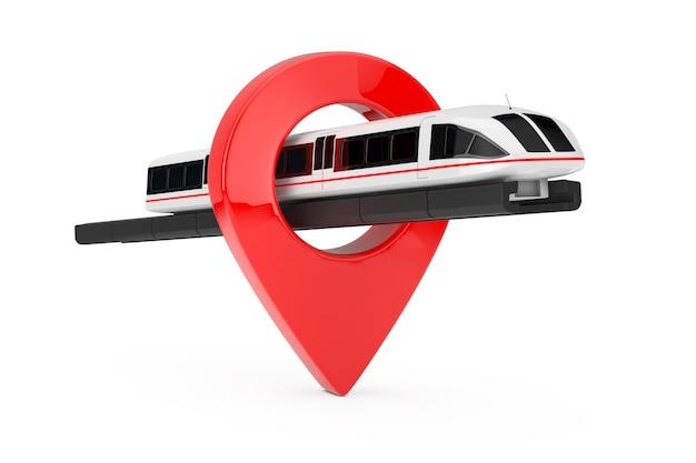 Супер высокоскоростной футуристический пригородный поезд с указателем булавки цели на белой предпосылке. 3d рендеринг