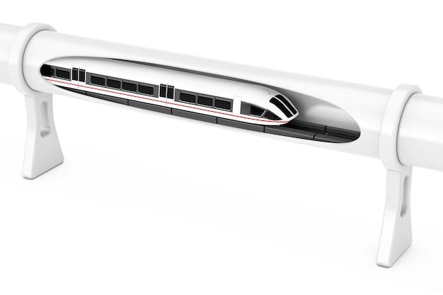 Супер высокоскоростной футуристический поезд магнитной левитации, движущийся в вакуумном туннеле на белом фоне. 3d рендеринг