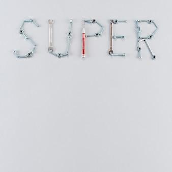 Super inscription made of tools