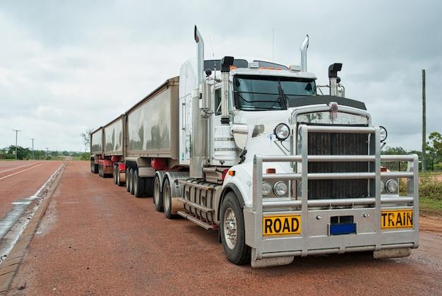 Super long goods truck used for long freight transport in australia