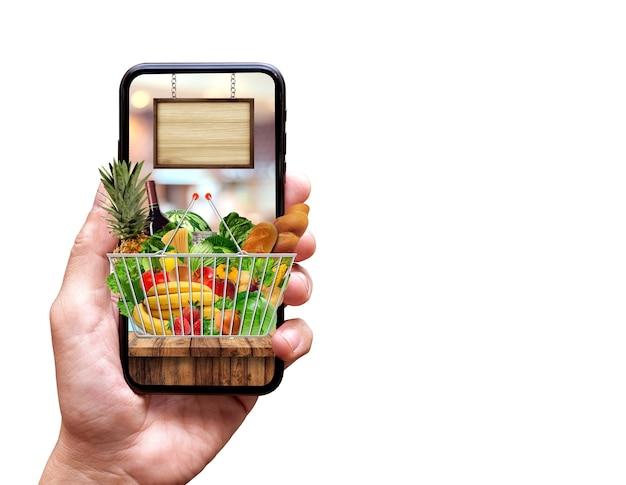 슈퍼 시장과 신선한 음식 배달 개념