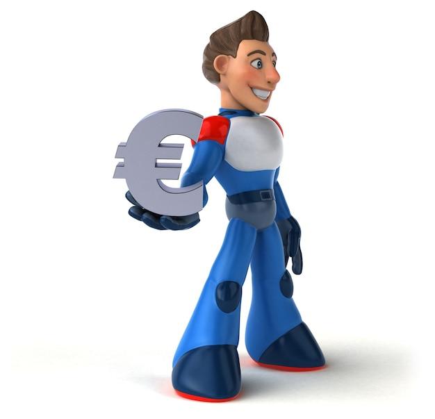 超近代的なスーパーヒーローの3dイラスト