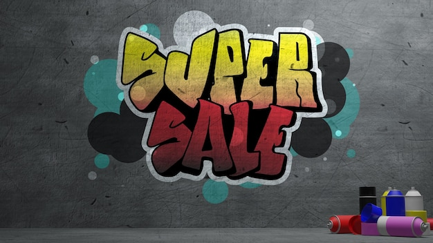 Super sale graffiti on concrete wall  texture stone wall background , 3d rendering