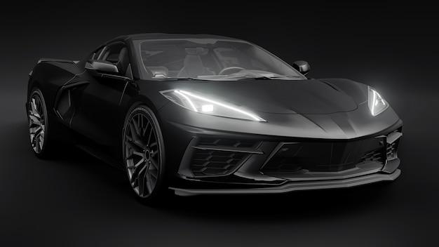 Супер спортивный автомобиль на черном фоне ... 3d иллюстрации.