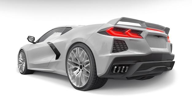 흰색 바탕에 슈퍼 스포츠카입니다. 3d 그림입니다.