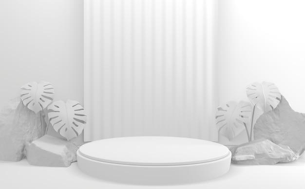 Супер белый стиль подиума минималистичный геометрический макет. 3d рендеринг