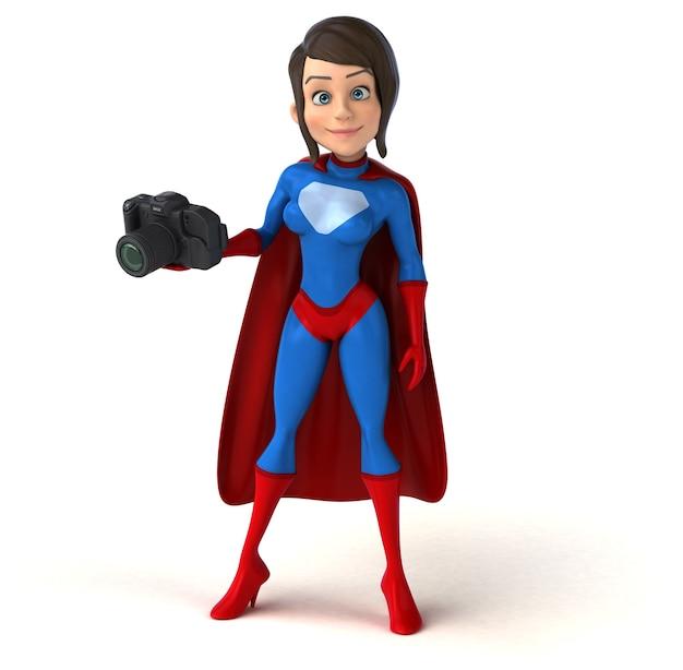 Супер женщина персонаж с камерой