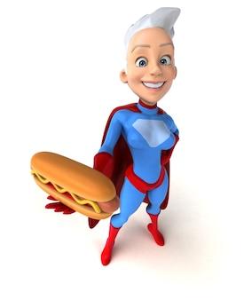 ホットドッグを持っているスーパー女性