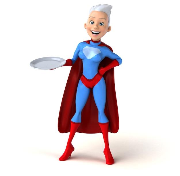 空の皿を持っているスーパー女性