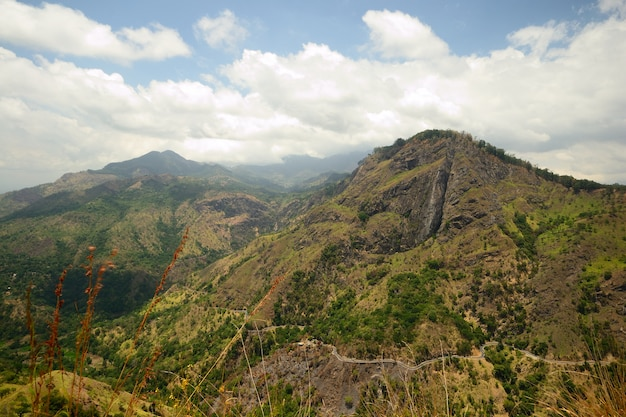 Superb view of ella gap, ella rock and the main road taken from little adam's peak, sri lanka