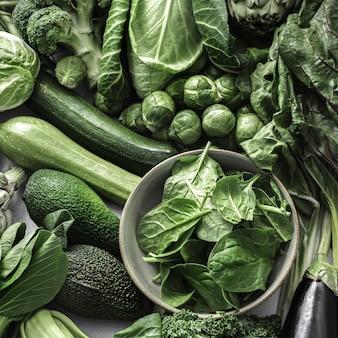 녹색 야채와 함께 superfood 배경