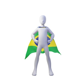 Superhero 3d render with brazil cape.