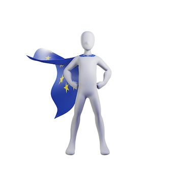Superhero 3d render with euro cape.