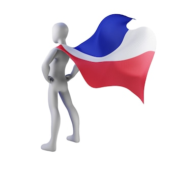 Superhero 3d render with french cape.
