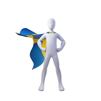 Superhero 3d render with sweden cape.