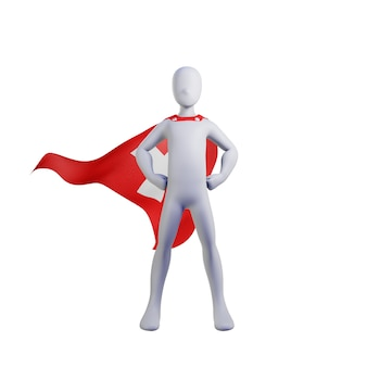 Superhero 3d render with switzerland cape.