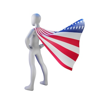 Superhero 3d render with united states flag