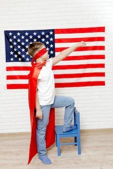 Superhero on american flag