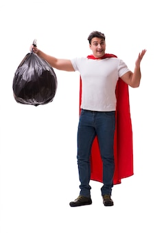 Superhero man with garbage sack isolated