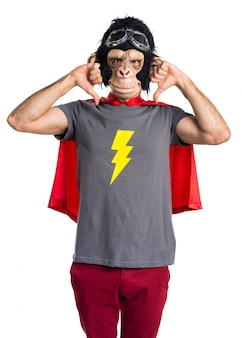 Superhero monkey man doing bad signal