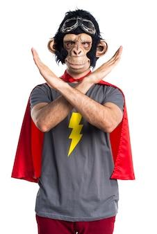 Superhero monkey man doing no gesture