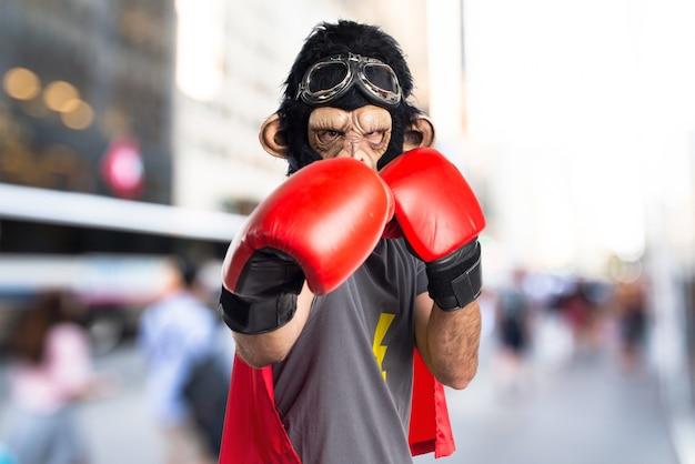 Superhero monkey man with boxing gloves on unfocused background
