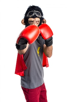 Superhero monkey man with boxing gloves