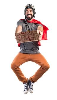 Uomo pizza supereroe