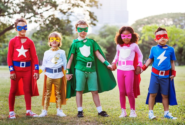 Superheroes kids imagination heoes playful concept