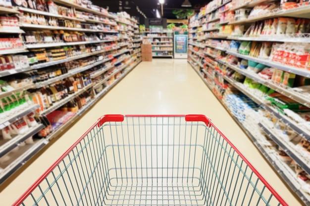 빈 쇼핑 카트 비즈니스 개념 슈퍼마켓 통로