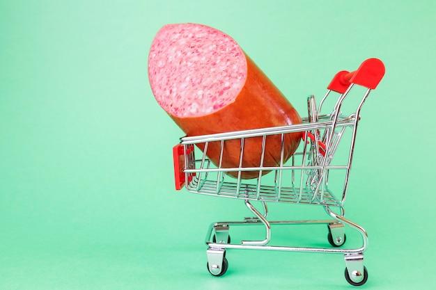 Супермаркет корзина, внутри колбаса.