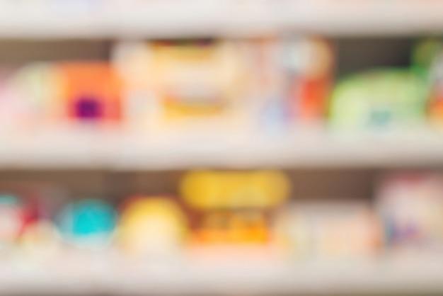 スーパーマーケットのぼやけた抽象的な背景。キッドデパートショップショップぼやけた背景。キッズショップの背景とbokhe。