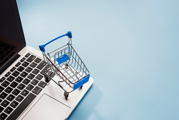 Корзина супермаркета на ноутбуке
