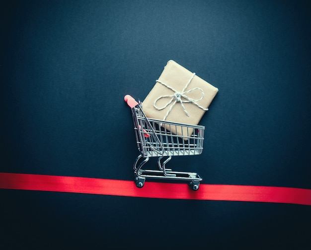 Supermarket cart with present box