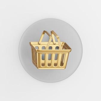 슈퍼마켓 황금 쇼핑 바구니 아이콘입니다. 3d 렌더링 회색 라운드 키 버튼, 인터페이스 ui ux 요소.