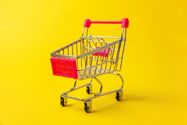 Supermarket grocery push cart for shopping isolated
