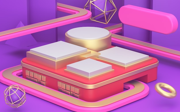 Концепция дороги супермаркета. абстрактная иллюзия геометрический минимализм, золотые витрины и роскошный подиум