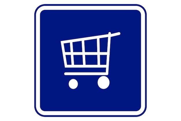 Supermarket shopping cart illustration in blue background