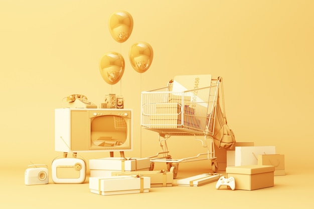 Supermarket shopping cart surrounding by giftbox with credit card and many gadget on yellow background. 3d rendering