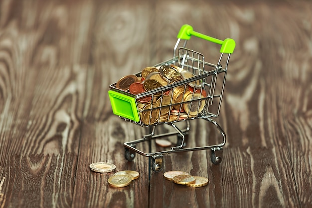 Supermarket trolley filled with euro coins