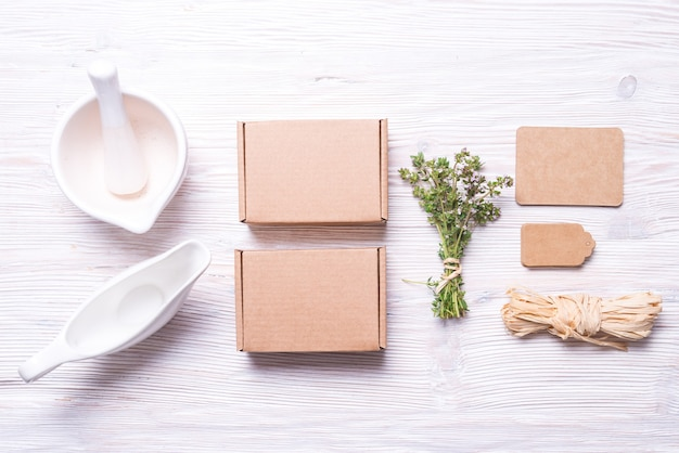 Supplies for gift box wrapping, food concept