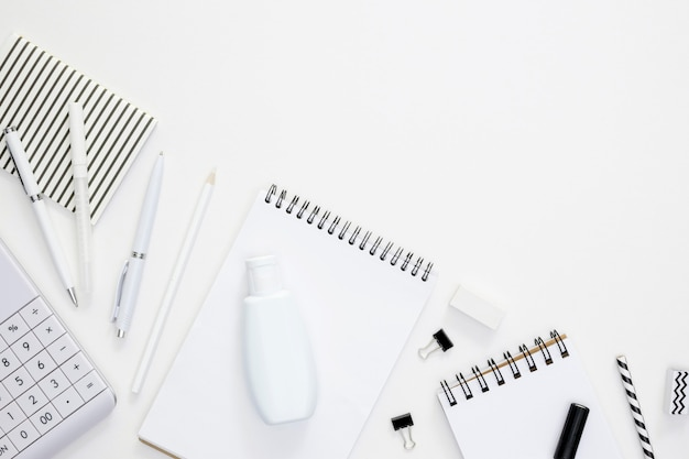 Supplies for school with white background