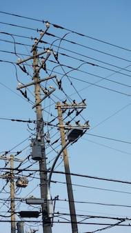 Поставка электрического столба с голубым небом